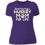 HUSKY MOM FUR LIFE Ladies' Boyfriend T-Shirt