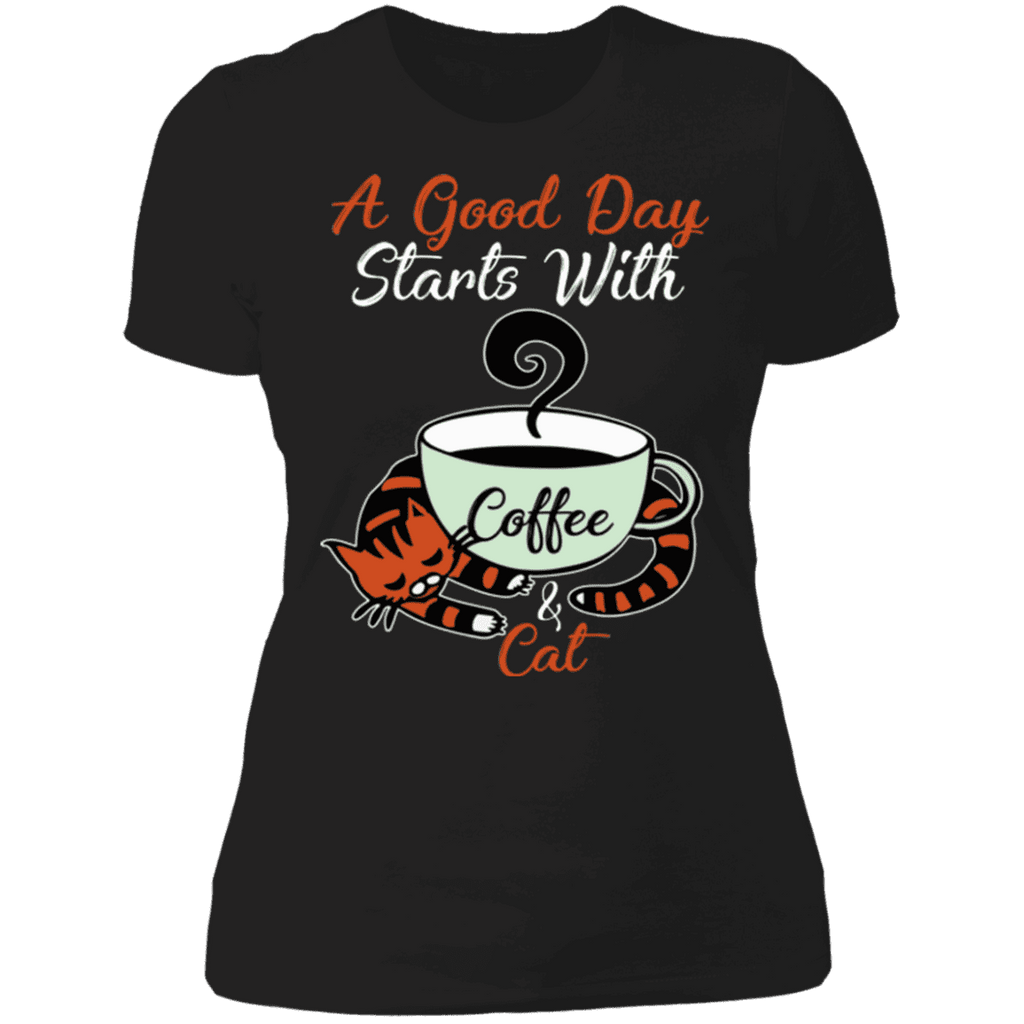 A GOOD DAY STARTS WITH COFFEE AND CATS Ladies' Boyfriend T-Shirt