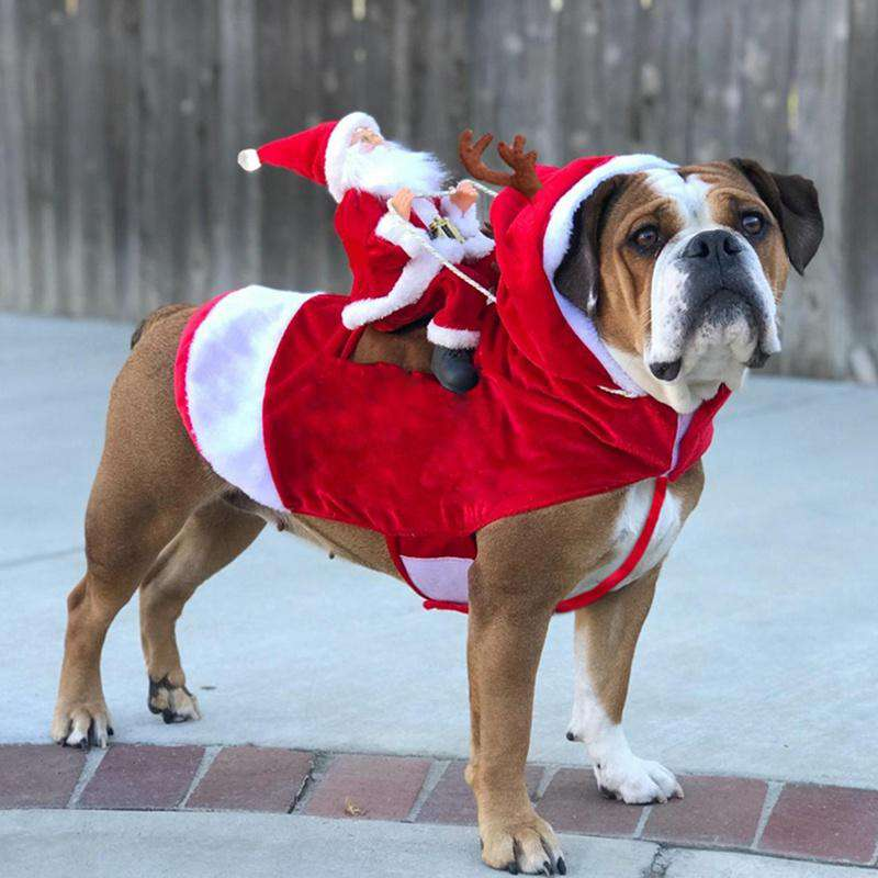 Christmas Dog Clothes Santa Dog Costumes Holiday Party Dressing up Clothing for Smal Medium Large Dogs Funny Pet Outfit Riding