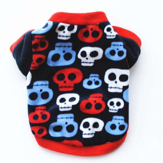 Cute Skull Print Pet Dog Clothes Winter Warm Fleece Pet Coat For Small Dogs French Bulldog Puppy Dog Clothing Chihuahua Clothes