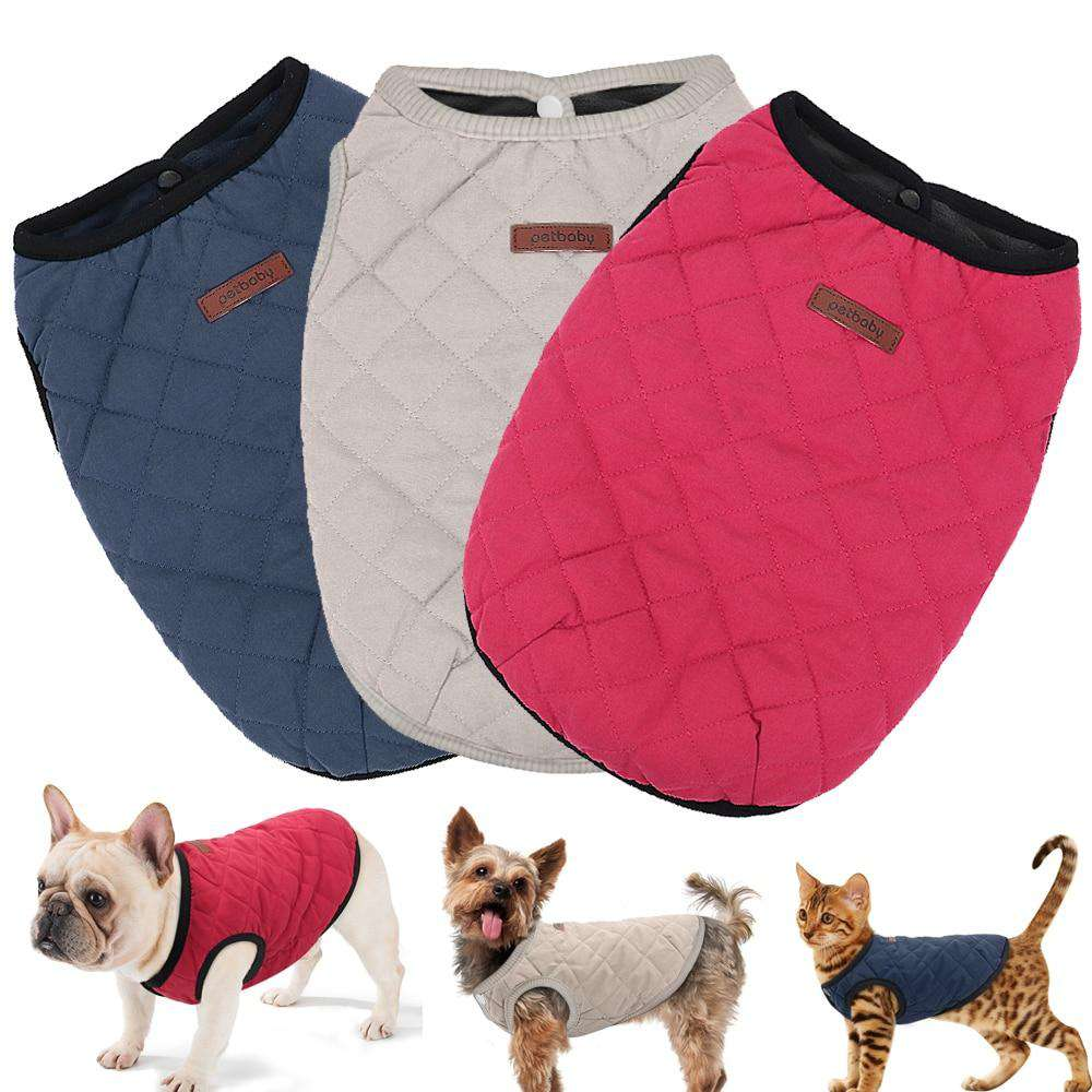 Winter Dog Coat - Blue, Beige, and Red