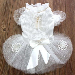 Pet Dog Wedding Dress With Cute Bow