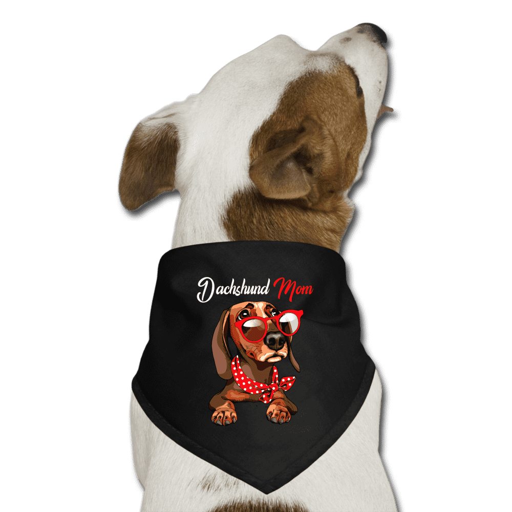 Dachshund_Mom_Wearing_Red_Glasses_-_Red_Polka_Dot_Dog Bandana