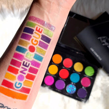 Load image into Gallery viewer, Gone Rogue Lois Cosmetics Eyeshadow Palette 12 shades Mirror Vegan Cruelty Free Paraben Free Professional High Quality Makeup Eyeshadow Look Rainbow Swatches Colourful Glitter Artistry Makeup Artist MUA Metallic Matte Shimmer