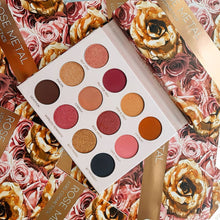 Load image into Gallery viewer, Lois Cosmetics Rose Metal Eyeshadow Palette Vegan Cruelty Free Paraben Free  Rose Toned Rosey Look Pink eyeshadow Metallic Matte Divine Beautiful Blend Makeup Red Eyeshadow Black Eyeshadow Palettes Shimmer High Quality Customer Makeup Artist Review