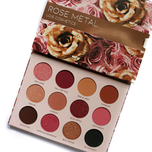 Lois Cosmetics Rose Metal Eyeshadow Palette Vegan Cruelty Free Paraben Free  Rose Toned Rosey Look Pink eyeshadow Metallic Matte Divine Beautiful Blend Makeup Red Eyeshadow Black Eyeshadow Palettes Shimmer High Quality