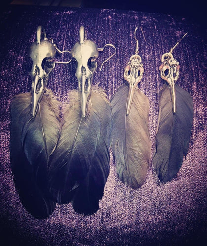 ~maCAWWbre ~ Pewter Raven skull feather earrings