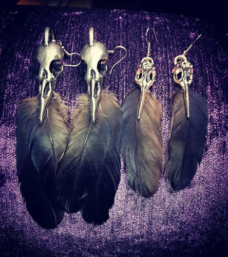 ~Winged Messenger~ Crow feather earrings