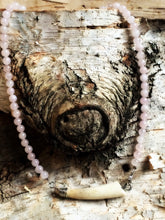 Wild Heart ~ Antler & Rose Quartz Goddess collar