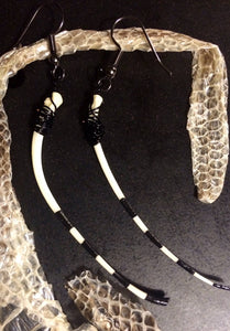 ~CirqueHisss~ Handpainted Snake rib earrings