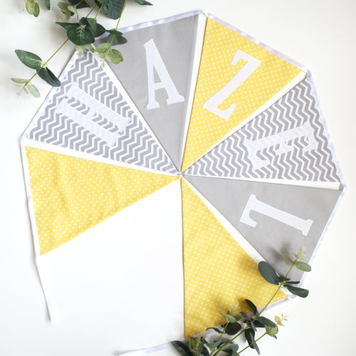 Personalised Lemon Polka Dot and Grey Chevron Bunting