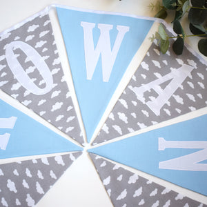 Personalised Blue and Grey Cloud Bunting