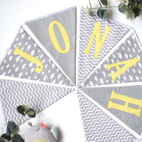 Personalised Grey Chevron, Cloud and Plain Grey Bunting