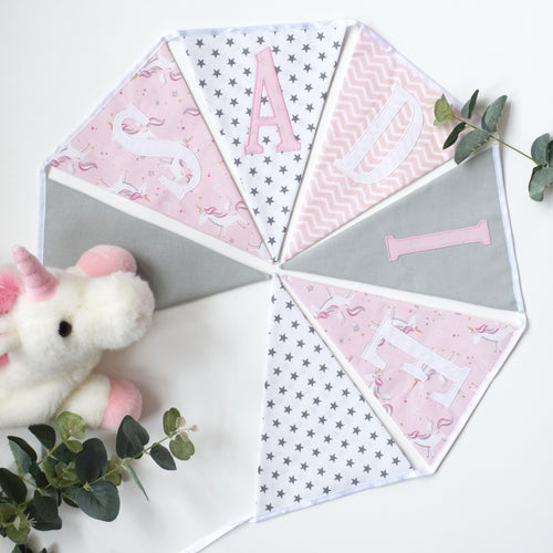 Personalised Pink Unicorn Bunting