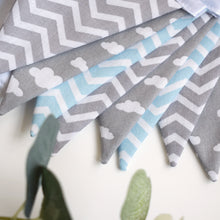 Load image into Gallery viewer, Blue Chevron, Grey Chevron and Grey Cloud Bunting