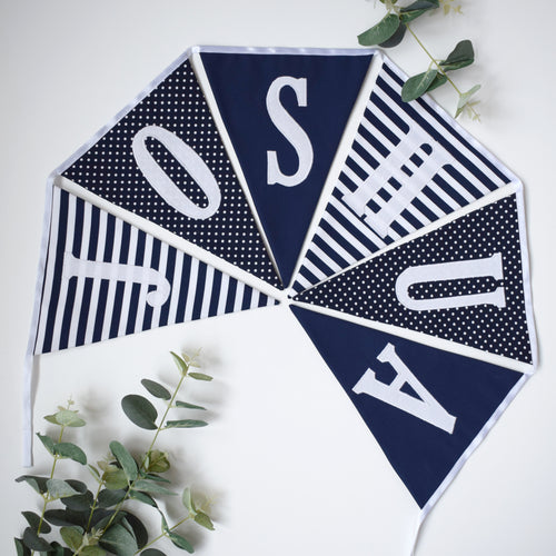 Personalised Navy Striped and Navy Bunting
