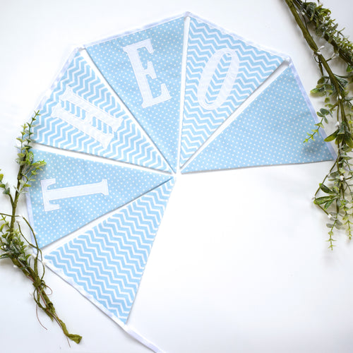 Personalised Blue Chevron and Polka Dot Bunting