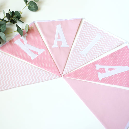 Personalised Pink Chevron and Polka Dot Bunting