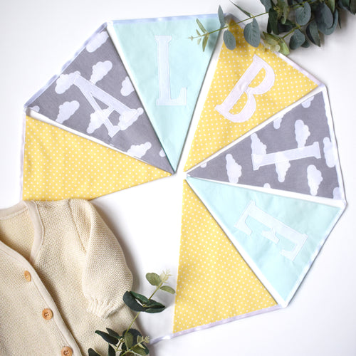 Personalised Mint, Lemon and Grey Cloud Bunting