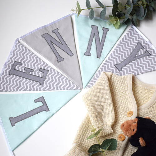 Personalised Mint and Grey Chevron Bunting
