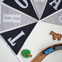 Load image into Gallery viewer, Personalised Navy and Grey Chevron Bunting