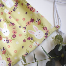 Load image into Gallery viewer, Green Bunny Drawstring Bag