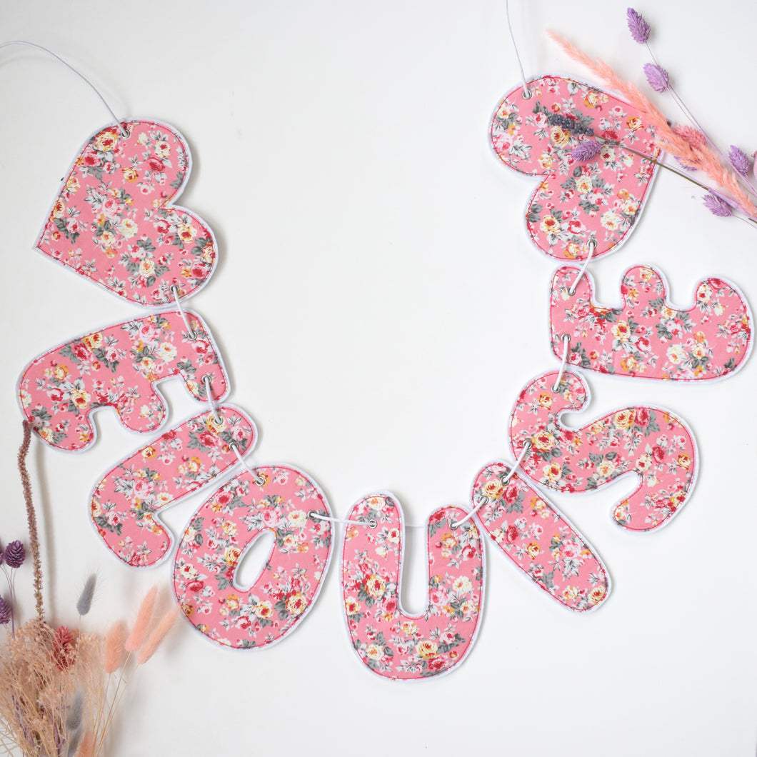Personalised Pink Floral Name Garland