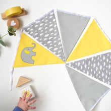 Load image into Gallery viewer, Elephant Yellow and Grey Cloud Bunting