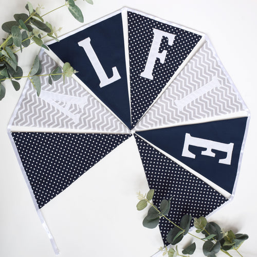Personalised Navy and Grey Chevron Bunting