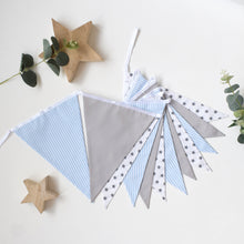 Load image into Gallery viewer, Blue and Grey Star Bunting