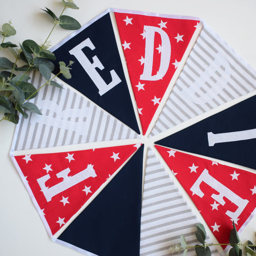 Personalised Navy, Red Star and Grey Striped Bunting
