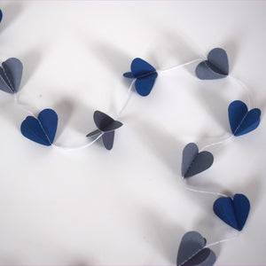 Navy and Grey Paper Heart Garland