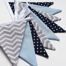 Load image into Gallery viewer, Blue, Navy Polka Dot and Grey Chevron Bunting