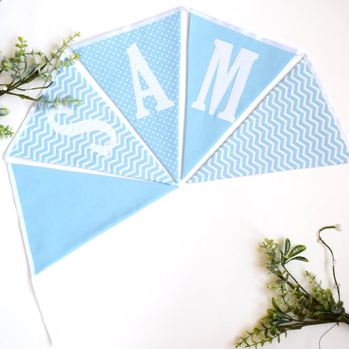 Personalised Pale Blue Bunting