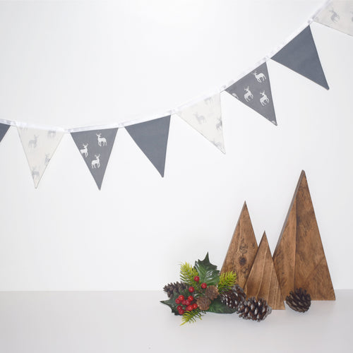 Metallic Silver and Grey Stag Bunting