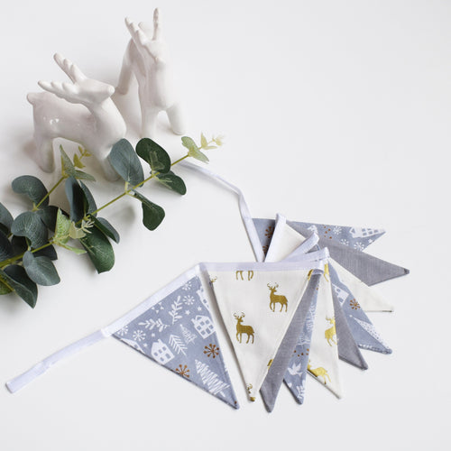 Grey Festive Nordic and Gold Stag Bunting