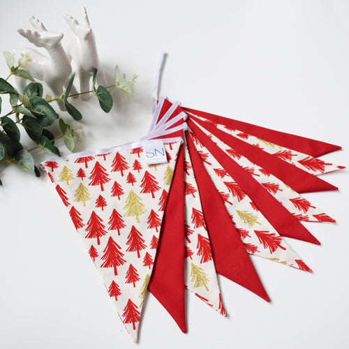 Red and Metallic Gold Christmas Tree Bunting