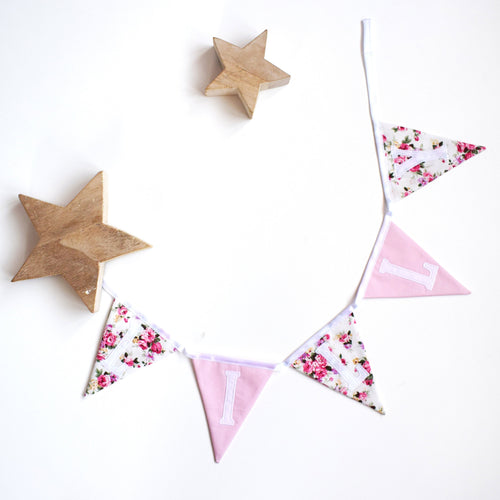 Personalised Pink Floral and White Bunting
