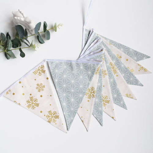 Dusty Aqua and Gold Snowflake Bunting