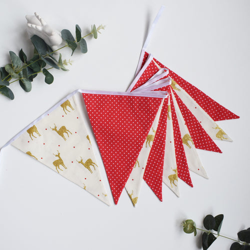 Red and Metallic Gold Stag Bunting