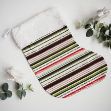 Load image into Gallery viewer, Gold, Red and Green Geometric Striped Festive Christmas Stocking | Large Christmas Stocking | Reusable Hanging Christmas Stocking