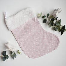 Load image into Gallery viewer, Blush Pink Geometric Christmas Stocking | Large Christmas Stocking | Reusable Hanging Christmas Stocking | Girls Pink Christmas Stocking