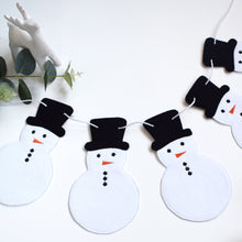 Load image into Gallery viewer, Snowmen Shape Garland | Christmas Bunting | Snowman Garland | Cotton Fabric Christmas Garland | Festive Snowman Hanging Christmas Garland