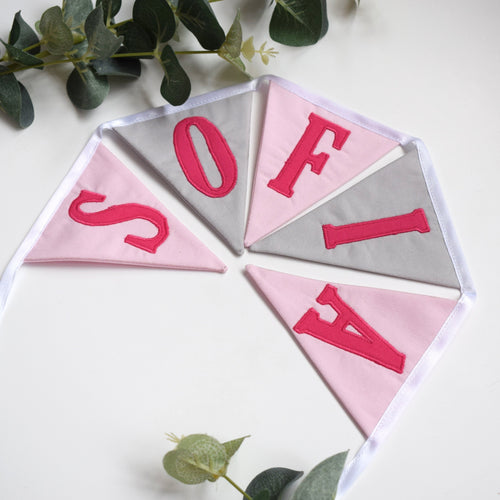 Personalised Pink and Grey Bunting