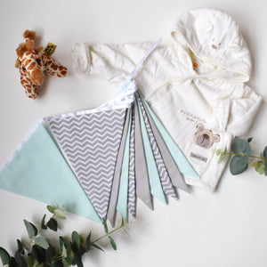 Mint, Grey and Grey Chevron Bunting