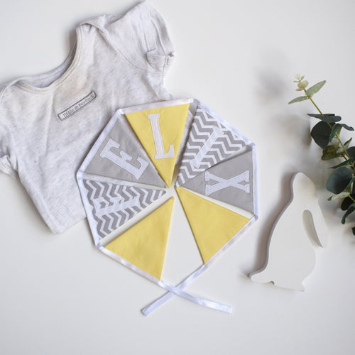 Personalised Lemon and Grey Chevron Bunting