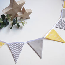 Load image into Gallery viewer, Lemon Polka Dot and Grey Chevron Bunting
