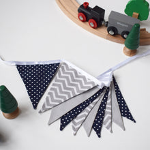 Load image into Gallery viewer, Navy Polka Dot and Grey Chevron Bunting