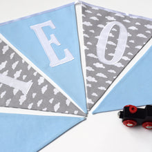 Load image into Gallery viewer, Personalised Blue and Grey Cloud Bunting