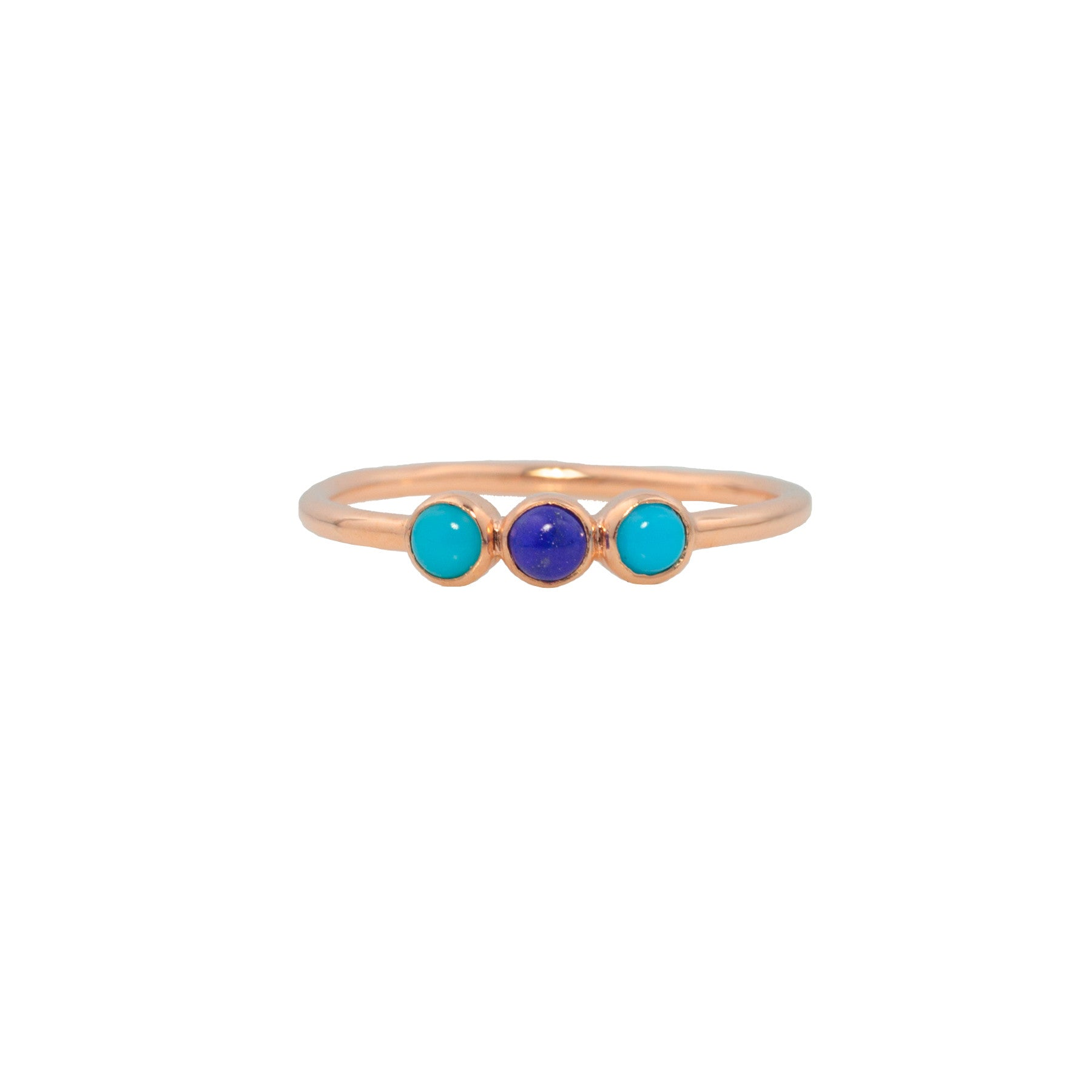 THREE SISTERS RING IN TURQUOISE AND LAPIS